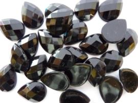 25 stuks kunststof strass stenen druppelvorm zwart 18x13mm