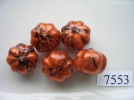 7553- 14x17mm bruin/zwarte kunststofkraal