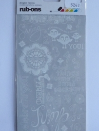 5743- basic grey rub-on stickers diverse teksten wit 20x11cm OPRUIMING
