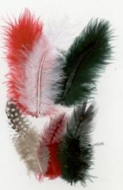CE800804/2901- 18 stuks maraboe veertjes mix rood / groen / wit