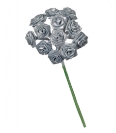 6547 710- 12 stuks roosjes van 10cm lang en 1.5cm breed zilver