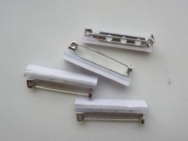 25mm - 6 stuks zelfklevende brochespeldjes staalkleur
