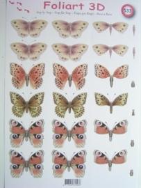 kn/465- A4 knipvel AANBIEDING foli art no.533 vlinders