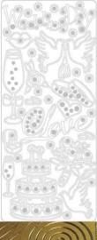 st-762-121001/5122- stickervel wedding1 GOUD 10x23cm