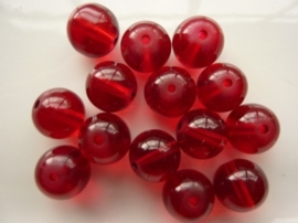 718- 14 stuks ronde glaskralen van 12 mm. transparant donkerrood