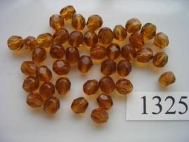 30 stuks tsjechische kristal facet geslepen glaskralen bruin 6x5mm 1325