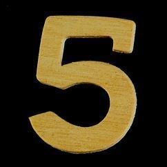 8735 639- 4cm houten cijfer 5