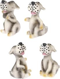 8002 612- 4 stuks decoratie polyresin hondjes van 3cm