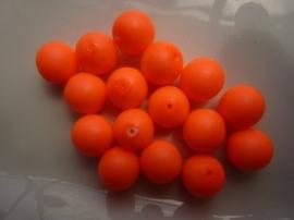 3751- 16 stuks glaskralen van 12mm neon/fluor oranje