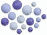 6023 134- 20 stuks houten kralen blauw tinten mix