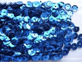 118372/509- 10 gram pailletten 6mm facon blauw/metaal (grote hoeveelheid) SUPERLAGE PRIJS!