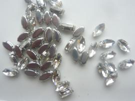 CH.034 - 50 stuks opnaaibare/ rijg strass steentjes glas 6 x 12 mm. christal zilver