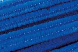 8476 357- 10 stuks chenille draad van 50cm lang en 8mm breed blauw
