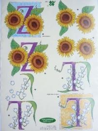 """kn/785- A4 3D knipvel klaver vier """"letters Z + T"""" OPRUIMING"""