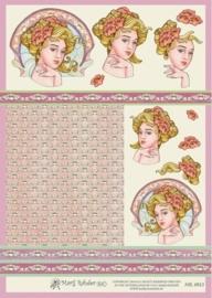 """kn/1930-  A4 3D knipvel Mary Rahder """"jugenstil dame 3""""  -  117140/2771"""