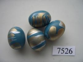 7526- 20x16mm turqoise/blauwe kunststofkraal marmer