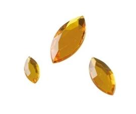 2282 514- 120 x kunststof strass stenen assortiment spitsovaal 10/15/20mm lang goudgeel