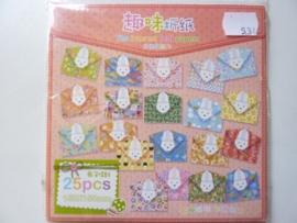 00534- 25 vellen origami papier 15x15cm diverse kleuren OPRUIMING