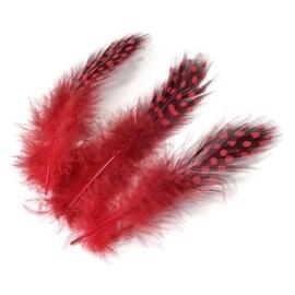 006623/0166- 20 stuks parelhoen sierveertjes rood van 3 - 5cm