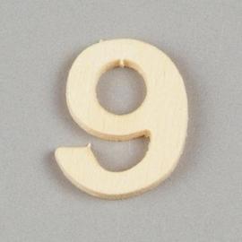 2227 1597- 2cm houten cijfer 9