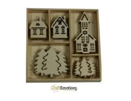 CE811500/0322- 25 stuks houten ornamentjes in een doosje winter 10.5x10.5cm