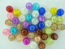 4076- ca. 40 stuks qraccle glaskralen van 10mm kleurenmix