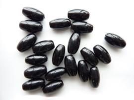 3716 - 13x6mm AA-kwaliteit ovale glaskralen zwart 20 stuks - SUPERLAGE PRIJS!