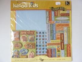 "5902- scrapkit ""Kazoo kids"" incl. 8 x scrappapier 30.5x30.5cm & diverse stickers"