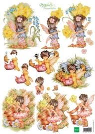 kn/1919- A4 3D knipvel Marianne design Ragdolls garden fairies  -  117148/4203