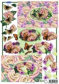 kn/1632-  A4 knipvel Marianne D elegance butterfly -117141/5258