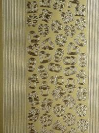 st974- stickervel met rechte randjes met mini figuurtjes 10x23cm goud