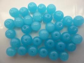 717- 35 stuks ronde glaskralen van 8mm opaal lichtblauw - SUPERLAGE PRIJS!