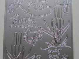 st 111- sticker met dieren uit de sloot zilver 10x20cm