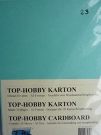 23- 20 vellen kaartkarton A5 formaat voor dubbele kaarten ca.225grams zee groen