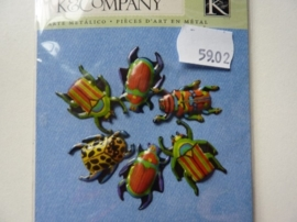 5902- 6 stuks K&Co Donna ingemanson metal art insecten paperclips OPRUIMING