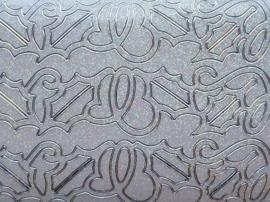 st1038- parelmoer zilver/wit stickervel met brede kerstrandjes met sneeuwlaag 10x20cm