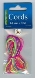 CE442000/8409- 5 meter knoopkoord / shamballa koord van 0.8mm dik neon mix