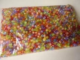 ca. 3500 stuks (500 gram) letterkralen van 7x3.5mm kleurenmix - SPECIALE AANBIEDING!