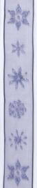 CE544344/2533- 10 meter lint met blauw/paarse ijskristallen 25mm breed