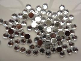 ca. 100 stuks strass stenen van 8mm kunststof zilver - SUPERLAGE PRIJS!