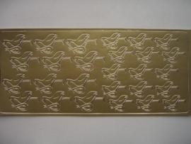 188- ooievaar goud 10x20cm