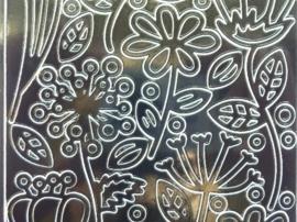 st1065- sticker met bloemen afbeeldingen 10x20cm