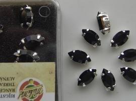 107011/0091- 8 stuks glazen rijg/naai strass steentjes 10x6mm druppel kristal zwart