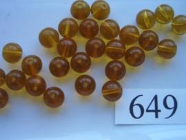 20 stuks 649 Ronde glaskraal 8mm midden bruin