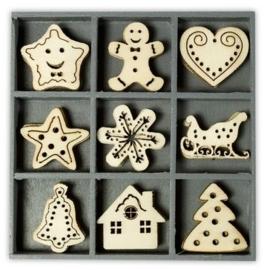 1852 1024- box met 45 stuks houten ornamentjes sweet Xmas 10.5x10.5cm