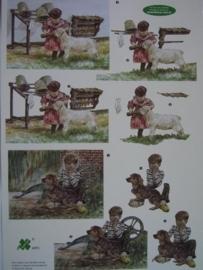 kn/519- A4 knipvel AANBIEDING klaver vier 4073 boerderij dieren