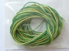 2290542- 3 rollen waxcord mix in groe/l.groen kleuren van 1mm dik en 1.70 meter lang