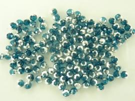 3922- ca. 145 stuks geslepen glaskralen van 4x3mm turquoise zilverplated - SUPERLAGE PRIJS!