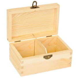 CE811720/0102- houten theekist 2-vaks 14.5x9x7cm pine