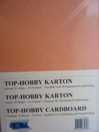 08- 20 vellen kaartkarton A5 formaat voor dubbele kaarten ca.225grams meloen